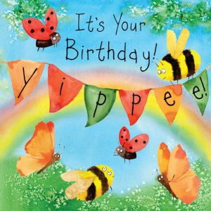 FIZ43  Cute Birthday Card Bees & Butterflies